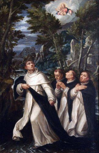 San Giacinto guada il fiume Vistola con tre santi domenicani / Jan Soens Jan, 1590/1599 (diocese di Piacenza-Bobbio, BeWeb)