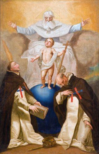 A Szentháromság a trinitárius rend alapítóival, Valois Szt. Félix-szel és Mathai Szt. Jánossal / Franciszek Smuglewicz (Smuglevičius) festménye, 1790 körül (Vilnius, trinitárius templom)
