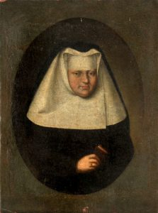 """Bildnis einer Nonne des Elisabethinen-Ordens"""", rückseitig Brief der Schwester Maria Brügn des Elisabethinen Klosters Klagenfurt vom 14. Juni 1810; Öl auf Leinwand, 28 x 21 cm Source: http://www.allgaeuer-auktionshaus.de/ https://commons.wikimedia.org/wiki/File:Bildnis_einer_Nonne_des_Elisabethinen-Ordens.jpg"""